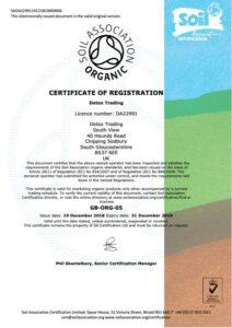 Detox Trading Soil Association Certificate
